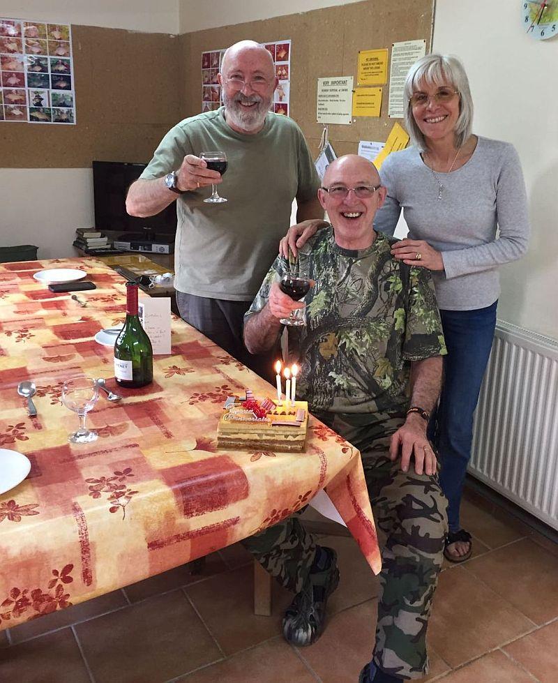 Birthday cake & wine for Alan
